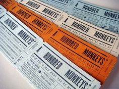 A Hundred Monkeys Business Cards - FPO: For Print Only #color #letterpress #buisness #tickets #one #cards