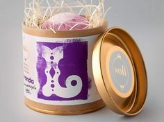 Sofi Bath Bombs | Lovely Package #white #tins #packaging #pink #purple #gold #typography