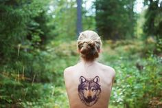 FFFFOUND! | Ne te promène donc pas toute nue! #girl #tattooed #illustration #tattoo #wolf #forest #naked