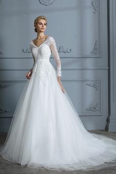 Robe de mariée avec décoration dentelle charme de col en v de mode de bal naturel - photo 1