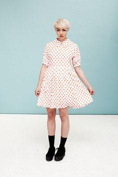 Polka Dot Big Collar Dress Coral #photography #retail
