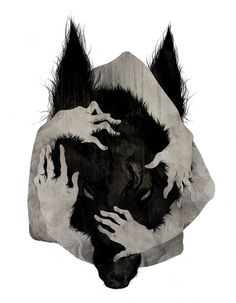 """Wild Dog"" by Corinne Reid #reid #corinne #illustration #china #hands #dog"