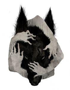 """Wild Dog"" by Corinne Reid #reid #corinne #illustration #china #hands #dog"