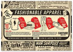 Eastside Supply Co. Advertisement - www.thefactorykids.com #east #side #retro #texas #austin #vintage #ad #fashion #factory #style #kids