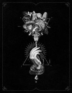 Anonymous Eaters on Behance #allblack #black #food #collage #hand #fork #poster #design #snake