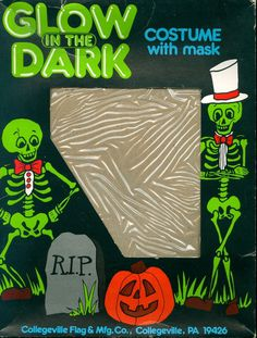 GLOW IN THE DARK #halloween #packaging #costume #design #vintage