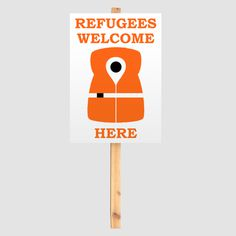 Refugees Welcome Here #refugees #migrants #protest #sign #illustration #mkrnld #free