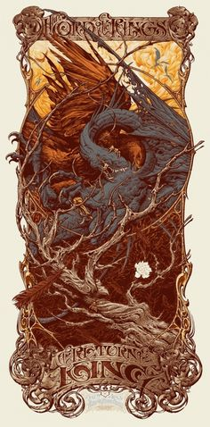 Aaron Horkey – Lord of the Rings Return of the King Regular | /Film #rings #of #lord #the #illustration #poster #horkey #type #typography