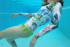 Adorable long sleeve surf rashguard in white!! by Nastya KFKS