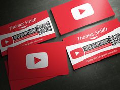 Free YouTube Business Card PSD Template