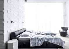 Penthouse Located in Tel Aviv white monochromatic bedroom interior #modern #bedroom #design #bed #leather
