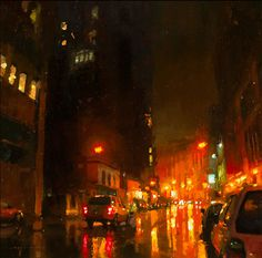 Brooding Cityscapes Painted with Oils by Jeremy Mann urban painting #canvas #painting #city #art
