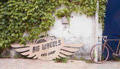 Shop sign Big Wheels #branding #sign #header #wood #hop #logo