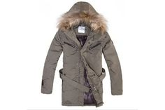Moncler Men Fur Long Down Coat Khaki #fashion