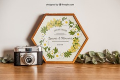 Hexagonal frame mockup with camera Free Psd. See more inspiration related to Flower, Frame, Mockup, Floral, Wood, Template, Camera, Table, Floral frame, Mock up, Plant, Decoration, Creative, Flower frame, Interior, Plants, Decorative, Wooden, Creativity, Pot, Up, Decor, Wood frame, Wooden table, Flower pot, Hexagonal and Mock on Freepik.
