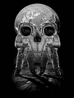 SciFi Fantasy Horror #illustration #sci fi #skull #death #space #moon #astronauts