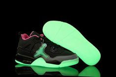Glow In The Dark Jordans 4 Black Pink Cement Grey Nike Mens Shoes #fashion