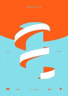 Baubauhaus. #white #brasilia #design #graphic #orange #shapes #simple #poster #blue