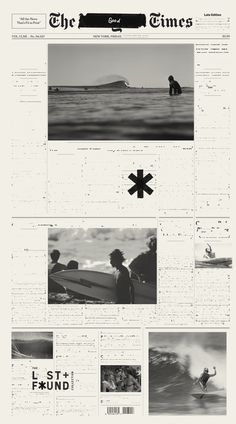 surf, lost, found, poster, black and white, news