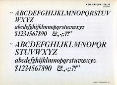 New Caslon Italic type specimen