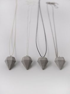 concrete diamond necklace by frauklarer #concrete #diamond #concretediamond #necklace #jewelry