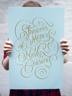 Bottlework Typography poster - Streams of Mercy - Gold ink screenprint on blue paper