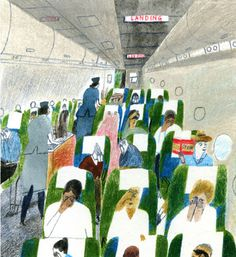 Laura Carlin illustration #illustration #plane #flight #people