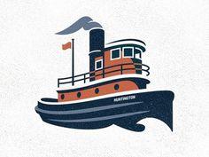 Dribbble - Tugboat by Roy Smith #illustration #vintage #vector #boat