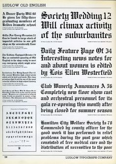 Ludlow Old English type specimen #blackletter #type specimen #ludlow