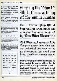 Ludlow Old English type specimen #type #blackletter #specimen #ludlow