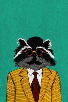 A Portrait of a Gentlecoon - Katie Melrose #raccoon #portrait #gentleman #classy #mustache