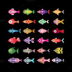 fish icon set #fish #icon #aquarium #exotic #design elements