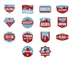 West Badges #nevada #oregon #utah #usa #california #idaho #hawaii #montana #america #washington #new mexico #alaska #arizona #badges #states