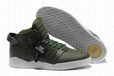 Green and White Men Supra Footwear Skytop 3 #shoes