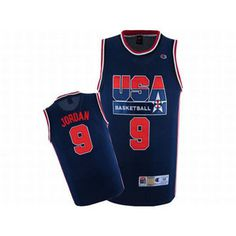 Michael Jordan #9 Blue USA Basketball Nike Jersey Red Numbers