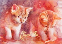 Cat Watercolors by Aurora Wienhold #watercolors #wienhold #cat #aurora