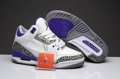 Available Now: Air Jordan 3 Retro Women's Leather Shoes - Purple and White and Grey Cement Release #shoes