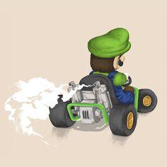 Luigi - Mariokart64 #Mario #Luigi #illustration #gaming #N64 #Mariokart #Retro #brother