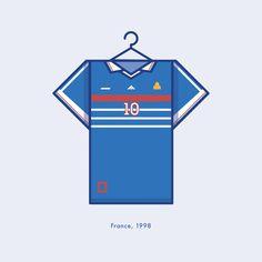 France World Cup Winning Football Kit 1998 - Minimal Illustration by Lucas Jubb