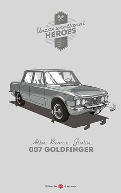 Martini, shaken not stirred. #unconventionalheroes #goldfinger #giulia #romeo #poster #alfa #007