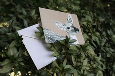 Snail's Pace Fawn Illustration - Note Card #deer #stationery #pace #snais #fawn #paper