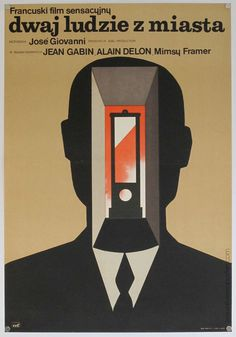 "Maciej Hibner's poster for French crime drama, ""Dwaj Ludzie Z Miasta "" (1975), seems like it could be influenced from Rene Magritteâ"