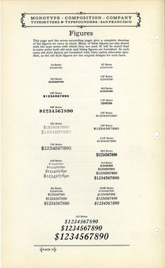 This type specimen shows figures by Monotype. #type #specimen #typography