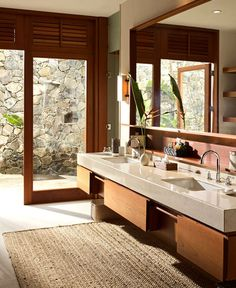 Vacation Villa Completely Open to the Mexican Pacific Bay warm earthy colors bathroom