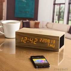 Gingko LED Music Click Clock #gadget #home #wood #clock #led