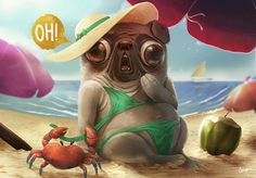 Pin up Pug by ~RodrigoICO on deviantART #paw #surprise #vacation #design #illustration #holiday #sand #beach #pug #dog