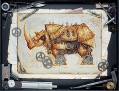 владимир гвоздев & gvozdariki #rhino #steampunk #mechanical #illustration #metal #gears #sketch