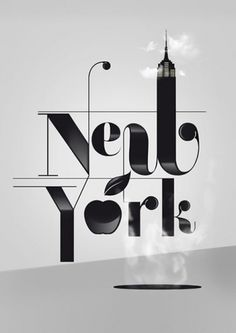 New York #lettering #white #typography #black #and #york #typo #new