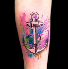 Watercolor anchor Tattoo #watercolor #tattoo