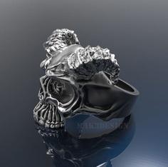 mens skull ring silver skull rings size - 20mm 3d model stl 2